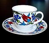 Osmanli - 18 Teiliges Mokka Tassen Set mit Tulpenmuster und Akkaya Teelöffeln
