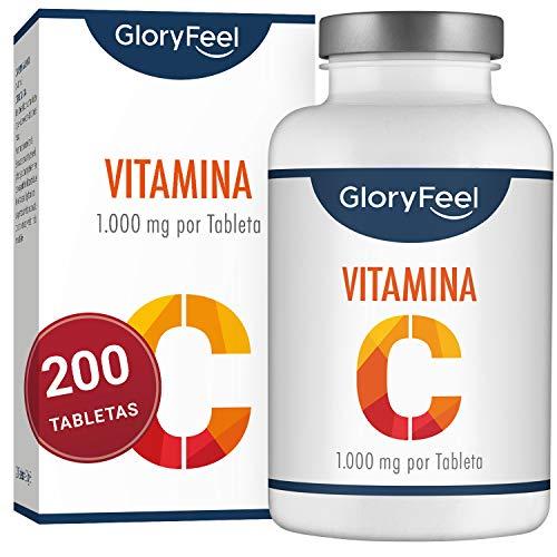 GloryFeel® Vitamina C - 200 comprimidos de vitamina c pura - Vitamina C 1000 mg puros por pastilla Vegana - Para un suministro de 7 meses de vitamin c - Suplemento Premium