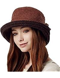 kenmont Otoño Invierno Mujer Mujer Poliéster de punto ancho el ala Tapa  cubo sombrero 198c9632888
