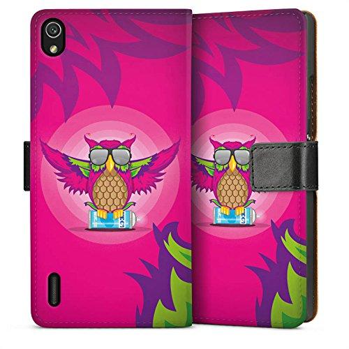 DeinDesign Huawei Ascend P7 Flip Tasche Schutz Hülle Walletcase Bookstyle Eule Pink Sonnenbrille