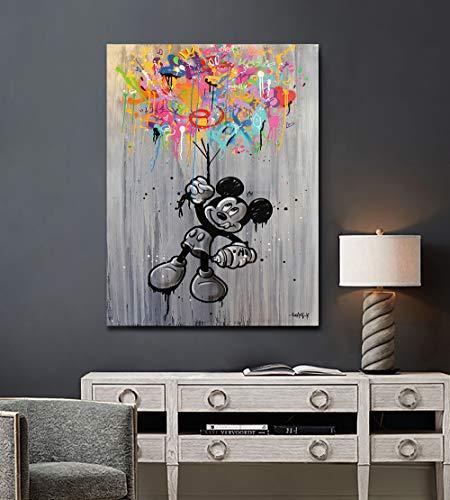 Impression sur Toile Portrait Abstrait Mickey Mouse Einstein...