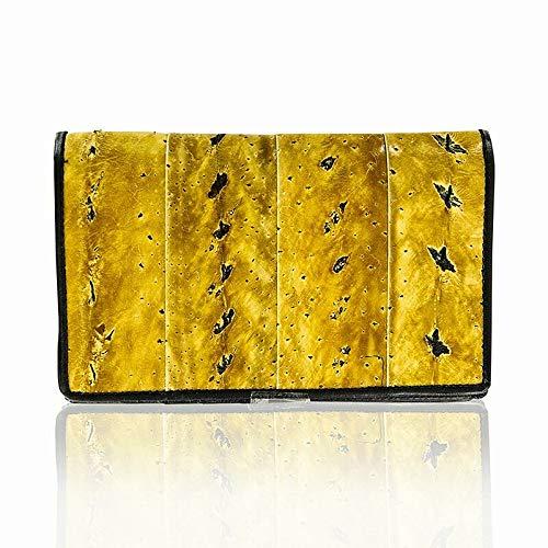 Brieftasche, Stör-/Rinderleder, gelb/beige,17x10,5x2cm, 1 St (Brieftaschen Großhandel)