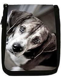 Beagle Dog Medium Black Canvas Shoulder Bag - Size Medium