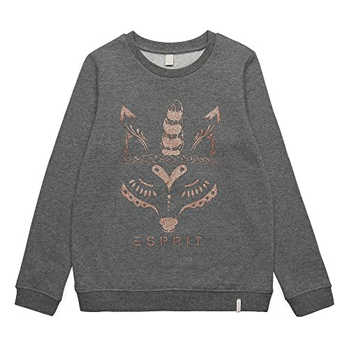 ESPRIT Mädchen Sweatshirt RK15075, Grau (Mid Heather Grey 260), 164 (Herstellergröße: L) (Heather Mädchen)