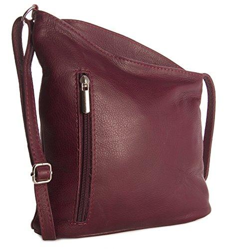 BHBS Frauen kleine Venenzi Weich Italienisches Leder Schultertasche Bote Handtasche 19x 18x 6cm (BxHxT) Dunkelrot