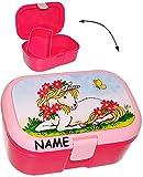 alles-meine.de GmbH Lunchbox / Brotdose -  Einhorn mit Blumen  - Incl. Name - mit Extra Einsatz ..