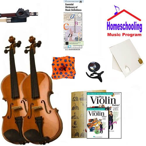 homeschool Music – Weitere die Violine Eltern und Kind Pack (Book/CD/DVD Anleitung Pack Bundle) – Beinhaltet Student 1/16 Violine (für einen 3–5 yr. Alt) & Full Size 4/4 Violine w/Fall & Learning Essentials