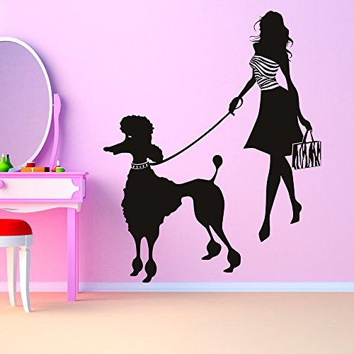 Mädchen und Pudel Pudel Wandaufkleber Wandtattoo Kunst verfügbar in 5 Größen und 25 Farben Extraklein (Pudel Mädchen)