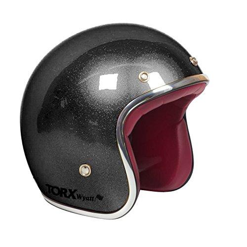 Casco Moto Wyatt Shiny Glitter Black: M
