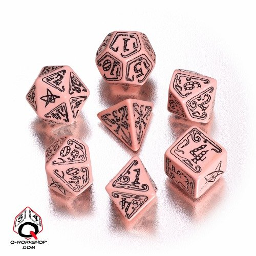 q-workshop-polyhedral-die-7-set-call-of-cthulhu-coc-geschnitzt-wurfel-pink-limited-edition-set-schwa