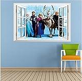 La princesa de hielo con amigos Cuarto Desmontable Mural Elsa Frozen Guardería Calcomanía Decoración Bebé Art Pegatina de pared Pegatinas Decoración Niños