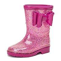 DKSUKO Kids Wellies Wellingtons Mid Calf Waterproof Rain Boots for Girls (6.5 UK Child, Pink Bow)