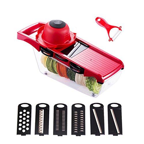 Verstellbarer Mandoline Slicer Set - JoyFan 6 Edelstahl Klingen Gemüse Cutter, Gemüseschneider Gemüsehobel, Gemüseschäler für Gemüse und Obst aus Edelstahl und ABS Kunststoff