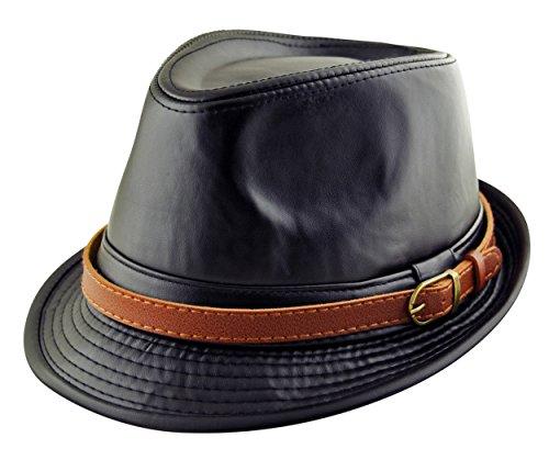 Adulte-Chapeau Fedora homme Classic Trilby & bande en cuir synthétique Noir ou marron (56,57,58,59,60 cm) Noir