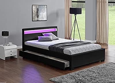 Black Double Or King Size, Led Colour Changing Leather Storage Bed **with Remote produced by Harmin Ltd - quick delivery from UK.