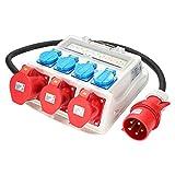 WIS Stromverteiler Baustromverteiler 2 x CEE 16A 400V +1 x CEE 32A 400 V +4 x 230V Schutzkontaktsteckdosen Wandverteiler mit Leitung
