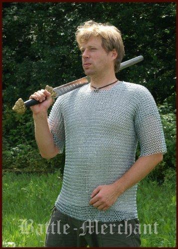 Cotte de mailles, manches courtes, 9mm ID, galvanisé, Taille. L Moyen âge Viking LARP