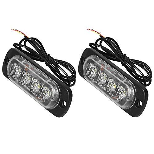 Universal-LED-Notfall-Warnleuchten, 86 mm, 12-24 V, 2 Stück - yellow-4 LED