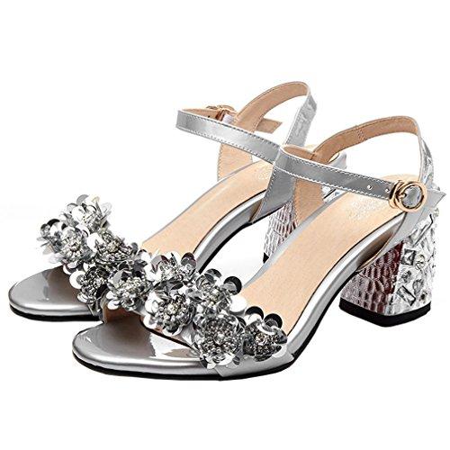 ENMAYER Womens Lackleder Knöchelriemen Blockabsatz Soffen Zehe Plateau Sandalen Büro Wölbungen Mode Schuhe Silber#5