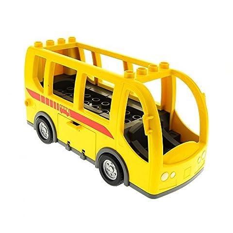 1 x Lego Duplo Auto Bus gelb neu-dunkel grau groß mit Transit Logo rot für Set 5636 9207 60776 DupBusc01pb01
