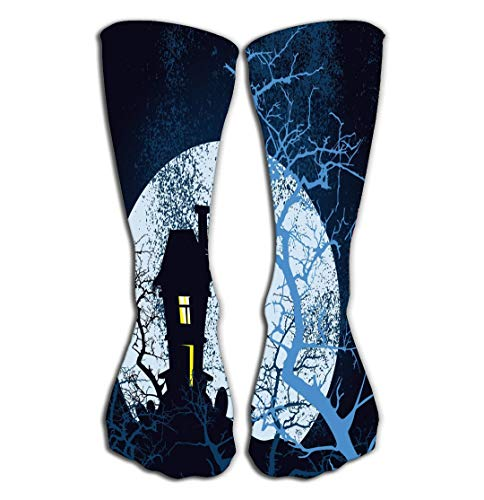 Outdoor Sports Men Women High Socks Stocking Happy Halloween Grunge Poster Drawing Tile Length 19.7