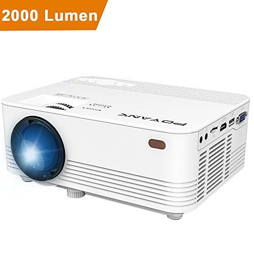 POYANK 2000 Lumen LCD Beamer, unterstützt 1080P, maximale 170 Zoll Projektionsgröße, inkl HDMI und AV-Kabel, Mini Heimkino Beamer, Weiß.