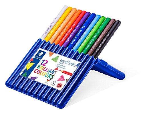 Staedtler ergo soft jumbo 158 SB12 Buntstifte, erhöhte Bruchfestigkeit, dreikant, Set mit 12 brillanten Farben, rutschfeste Soft-Oberfläche, kindgerecht nach EN71
