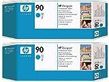 (2er Pack) OEM HP 90cyan Druckkopf und Druckkopf Reiniger, P/N: Cyan