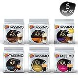 Tassimo LOR Lovers Coffee Bundle - Tassimo LOR Latte Macchiato/ Latte Macchiato Caramel/Double Shot Latte/Fortissimo/Café Long Classique/Café Long Intense - 6 Paquetes (72 Porciones)
