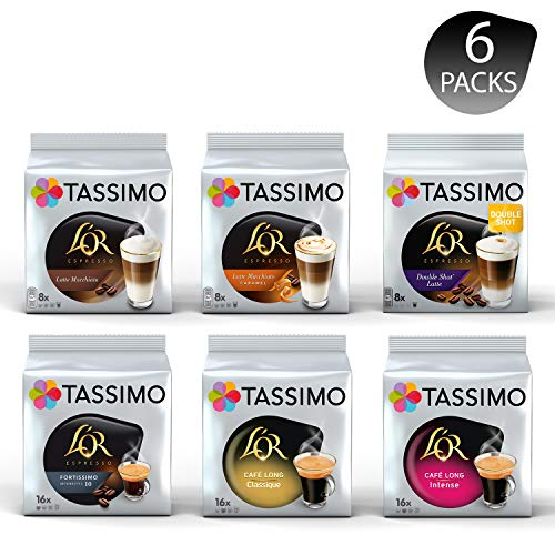 Tassimo L'OR Lovers Coffee Bundle - Tassimo L'OR Latte Macchiato/ Latte Macchiato Caramel/Double Shot Latte/Fortissimo/Café Long Classique/Café Long Intense - 6 Paquetes (72 Porciones)