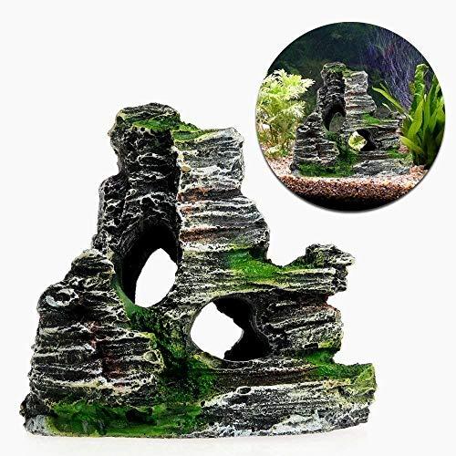 Beito Aquarium Dekoration Rock Cottage Cave Stein Versteckte Felsen Höhle für Fish Tank - Dekoration Aquarium Höhle