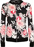 Frauen-Blumen Krepp Drucken Reißverschluss Lange Ärmel Oben Damen Mantel Bomberjacke