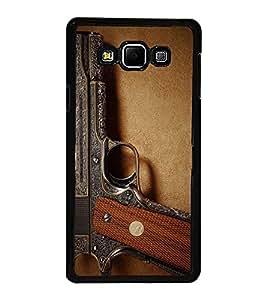 Fuson Premium 2D Back Case Cover GUN With Brown Background Degined For Samsung Galaxy A7::Samsung Galaxy A7 A700F