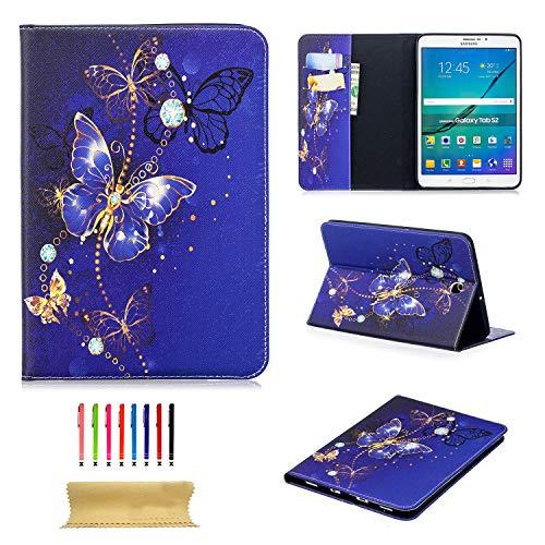 Schutzhülle für Galaxy Tab S2 8.0 Zoll / 20,32 cm (SM-T715/T710/T713) mit Standfunktion, PU-Leder, TPU, stoßfest, mit Kartenfächern blau 02 Bling Blue Butterfly