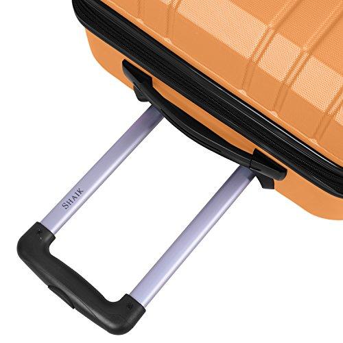 Shaik Serie XANO HKG Design Hartschalen Trolley, Koffer, Reisekoffer, in 3 Größen M/L/XL/Set 50/80/120 Liter, 4 Doppelrollen, TSA Schloss (Großer Koffer XL, Gelb) - 4