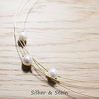 Weißes Perlen-Collier vergoldet dreireihig / jede Länge erhältlich / besonders festlich - sehr schön auch als Braut-Schmuck / Hochzeits-Schmuck