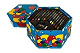 Hillington Childrens 52 Pcs Craft Art Artists Set Hexagonal Box Crayons Paints Pens Pencils