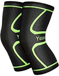 Yosoo Knee Sleeves 1 Paar, Athletic Kompression Kniebandage für Laufen, Joggen, Wandern, Basketball, Knieverletzung Schmerzen Arthritis Erleichterung, Männer & Frauen Geschenk