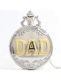 Reloj de bolsillo creativo del cuarzo de la vendimia del tirón Reloj de bolsillo de los muchachos y de las muchachas del regalo con la cadena Caja de regalo para cumpleaños aniversario día nav