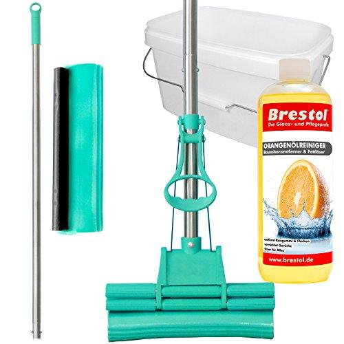 GREEN MOP Set 20-03 - Green Mop 20 cm + Stiel + Ersatzschwammm + 10 Liter Eimer in weiß + 1000 ml Orangenölreiniger Konzentrat - Doppelwringer Mop saugstarker Wischmop PVA Bodenwischer