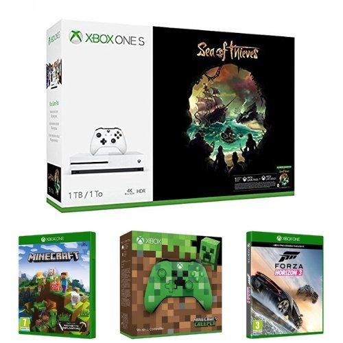 Xbox One S 1TB + Sea of Thieves + Controller Minecraft + Minecraft Pacchetto esploratori + Forza Horizon 3