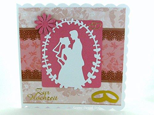 Hochzeitskarte Brautpaar und Ringe, ca. 15 x 15 cm