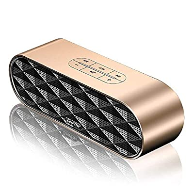 ZoeeTree S3 Wiressless Bluetooth Speaker (Bluetooth 4.2 Speaker with Rich Bass and 360? Stereo Sound, 10 Dual-Driver, 10 Hours Playtime, Handsfree and TF Card) - Gold from ZOEE