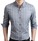 AIYINO Herren Casual Hemd Slim Fit Langarm Shirts Freizeit Baumwolle 5 Farben Größen XS-XL (Medium, Gray)