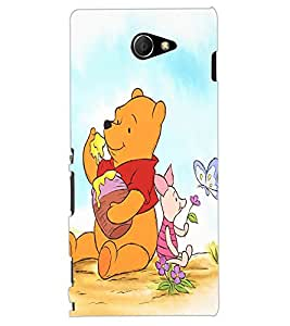 ColourCraft Cute Teddy Design Back Case Cover for SONY XPERIA M2