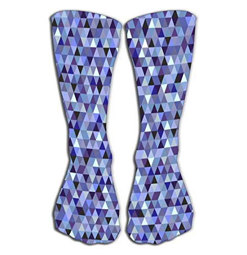 CVDGSAD Outdoor Sports Men Women High Socks Stocking Nice Colorful Background Triangles Graphic Tile Length 19.7