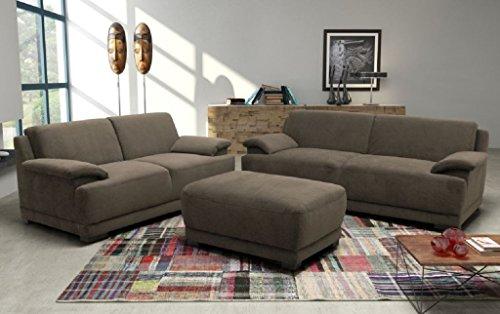 ALESSANDRIA Boxspringsofa Couchgarnitur Set Garnitur Sofa Couch Microfaser Braun