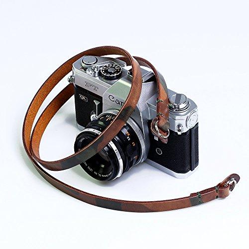 CANPIS Cinghia per tracolla fotocamera camouflage in pelle fatti a mano per Nikon Canon Sony Pentax Leica Olympus Fuji