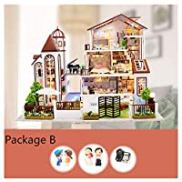 SYLTL DIY Dollhouse Kit, Three-storey Large Villa Miniature 3D Home Decor LED Lights Music Box Anyone Who Likes Crafting Craft Kits Dolls House
