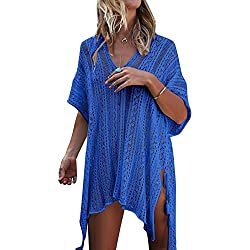 Tuopuda Mujer Pareos Playa Traje de Baño Vestido de la Playa Bikini Cover up Camisola de Playa (Azul)